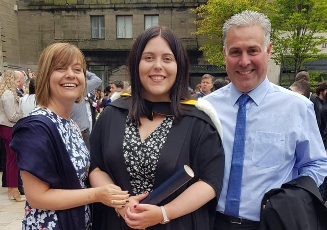 Danielle Williams pictured at her graduation with her parents Sarah and Paul Williams