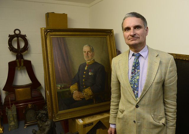 Johnny Andrews with a portrait of his great grandfather and Northern Ireland's second prime minister J M Andrews.Picture by Arthur Allison/Pacemaker.