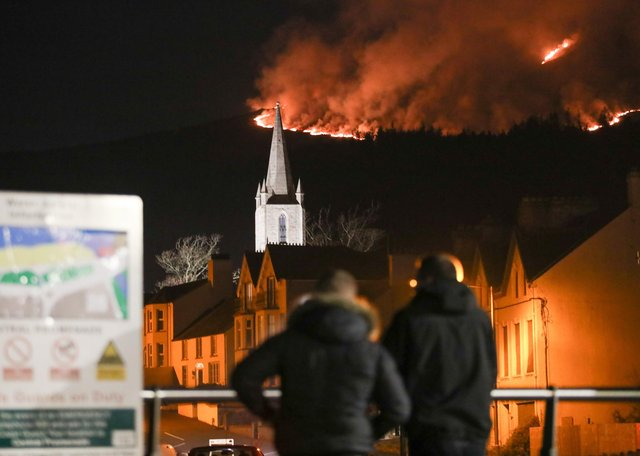 The Mournes fire as seen from Newcastle on the night of April 23. Photo: Philip Magowan / Press Eye