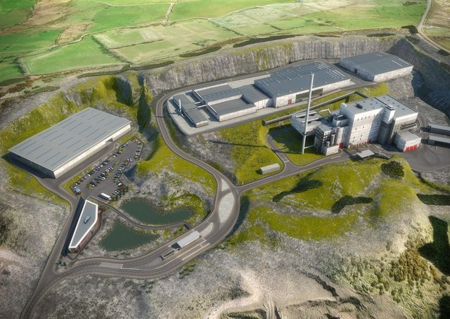 An artist's impression of the Arc 21's proposed waste centre at Hightown Quarry.