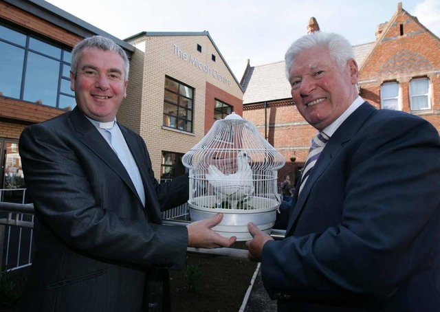 David McClay, (left) chairman of the Willowfield Parish Community Association with Comedian Roy Walker at the official opening of the Micah Centre, a new community facility at Willowfield Church, East Belfast in 2007. Picture: Brian Little/News Letter archives