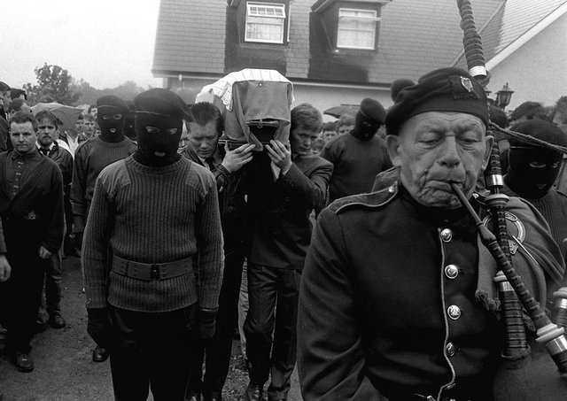 The IRA funeral of Lawrence McNally who was shot dead by the SAS in Coagh, Co Tyrone in 1991. Photo: Pacemaker