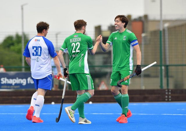 Ireland's Sean Murray and Michael Robson celebrate victory over Scotland at Jordanstown.