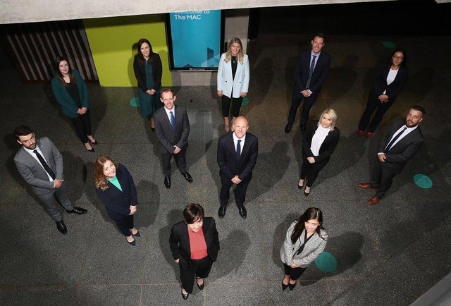 Tughans Managing Partner, Patrick Brown with newly promoted Caterina Gunn and Aimee Crilly, Sarah Sharkey, Paul Eastwood, Nadine Brennan and Gavin Robinson, Jack Balmer, Pauline Walker, Ellen Forester, Aimee Craig, Brendan Donnelly and Abigail Cairnduff