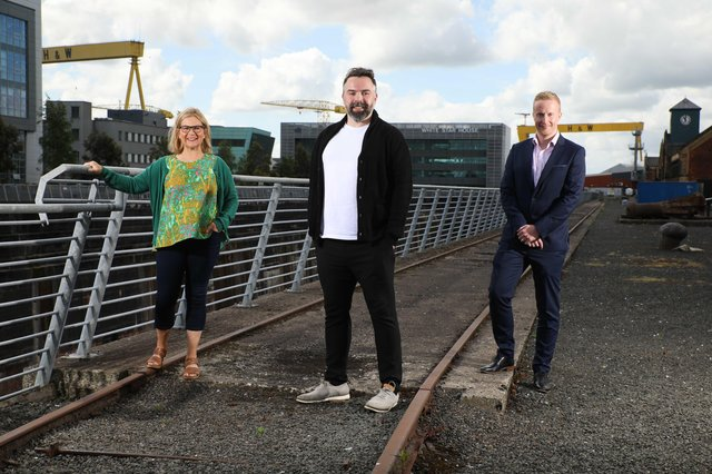 Catalyst in Belfast are Elaine Smyth, Director of Innovation Community at Catalyst, JP McCorley, co-founder of Ecko, one of the finalists in the INVENT 2021 competition, and Niall Devlin, Head of Business Banking NI at INVENT's lead partner Bank of Ireland UK