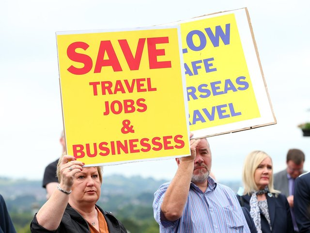 Travel agents in Northern Ireland are joining a day of protest across the UK over what they claim is a lack of government support. Firms here also claim they have not yet received a grant of £10,000 in emergency support for the industry announced by The Executive Office in March. Travel agents said their chances of doing business over the summer season were reduced when the Government announced Portugal would be joining the 'amber' list of countries to which holiday travel is not advised.