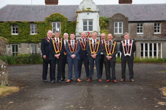 The Scarva Sham Fight committee, and members of Sir Knight Alfred Buller Memorial RBP 1000, who will be laying a wreath at Scarva war memorial on the Thirteenth morning.