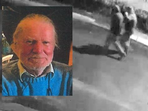 Mike Kerr; inset, the two individuals the PSNI believe could help with the investigation. (Images courtesy of the PSNI)