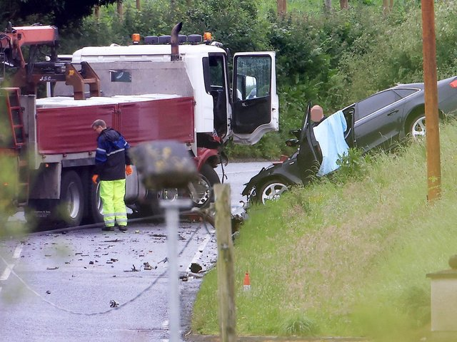 An image taken at the scene of the collision.