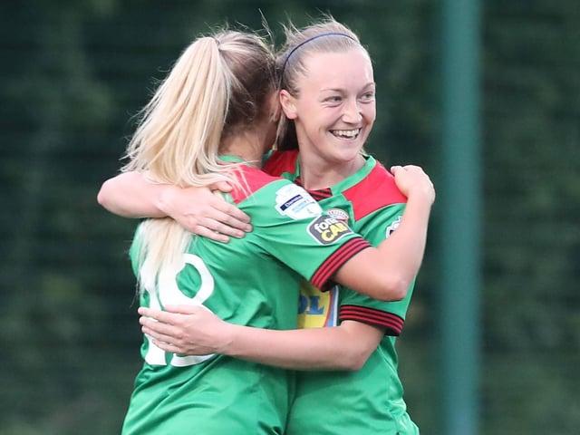 Lauren Wade celebrates scoring against Cliftonville