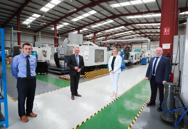 Finance Minister, Conor Murphy, Stephen Cromie, Owner and Founder of Exact Group,  Ronan Callan, General Manager of Exact Group with Mary Meehan, Deputy CEO of Manufacturing NI