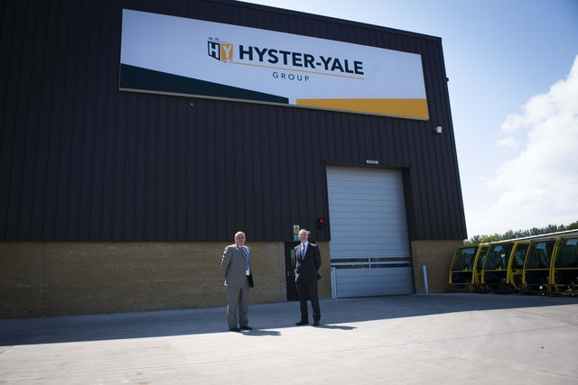 Jim Downey, Plant Manager for Hyster-Yale Group EMEA and Kevin Holland, Invest NI's CEO outside Hyster-Yale in Craigavon