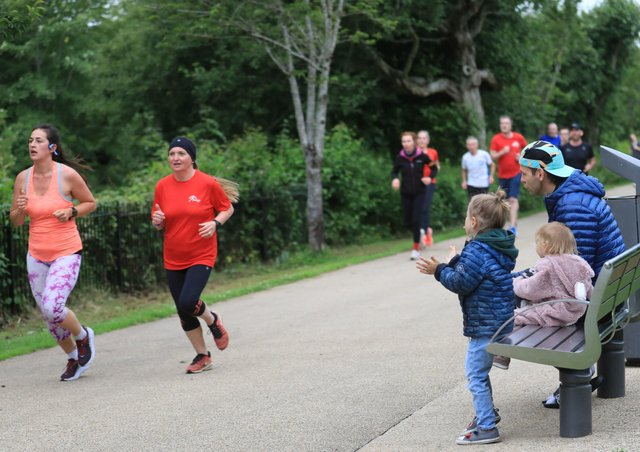 Runners take part in the 5km parkrun at Victoria Park in east Belfast.  Photo: Peter Morrison/PA Wire