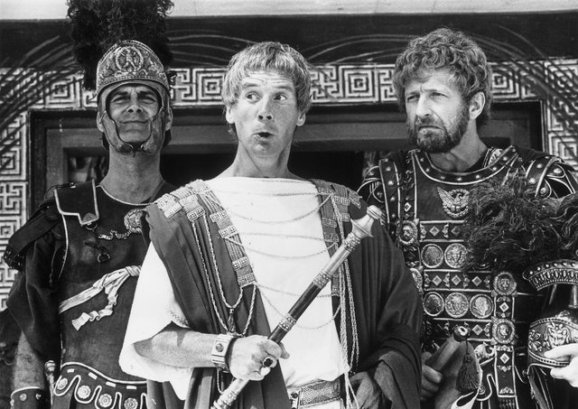 1979: Members of the British comedy team, Monty Python, during the filming of their controversial film 'The Life of Brian', (from left) John Cleese, Michael Palin and Graham Chapman. (Photo by Evening Standard/Getty Images)