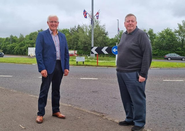 Pictured at the Thaxton Road roundabout is councillor Alan Givan and alderman Paul Porter