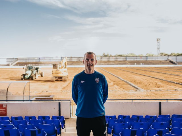 Oran Kearney pictured in front of the new pitch installation works at The Showgrounds. PICTURE: David Cavan