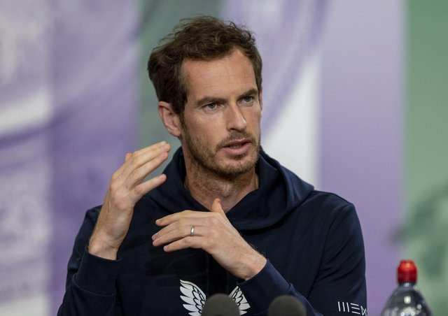 Andy Murray at a weekend Wimbledon press conference. Pic by PA.
