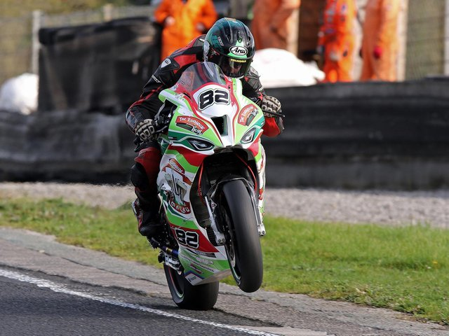 Derek Sheils took a race win on the Roadhouse Macau BMW at the opening round of the Dunlop Masters Superbike Championship at Mondello Park on Sunday.