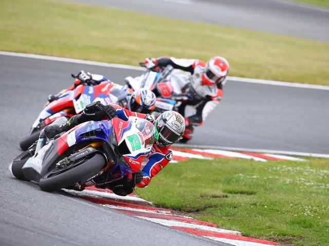 British Superbike rider Glenn Irwin on the Honda Racing Fireblade SP at Oulton Park.