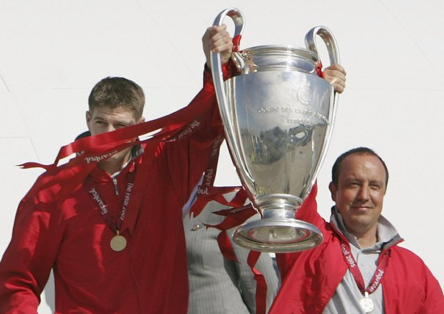 Rafael Benitez (right) won the Champions League as Liverpool manager in 2005. Pic by Getty.