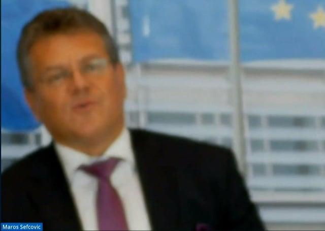 Maroš Šefčovič appeared via a blurry video-link with MLAs yesterday