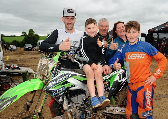 Jason Meara took the overall in the MX1 Experts while his brother Jack did the same in the B/W85. The rest of the family Ollie, father Ceril and mum Breda joined in the celebrations at the Ulster championship meeting at Loughbrickland