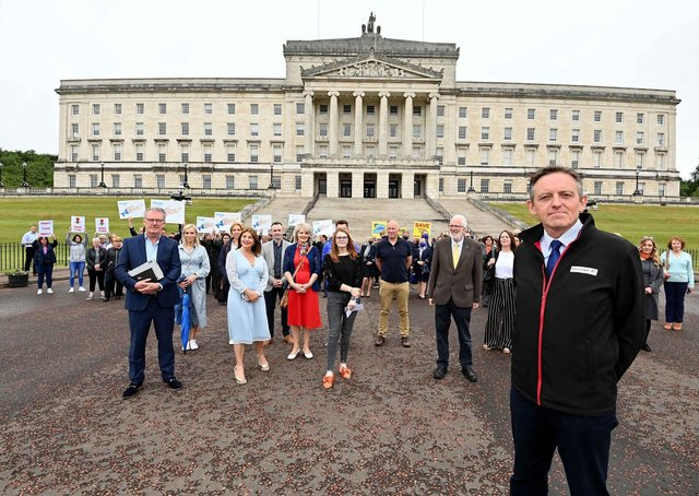 Damian Murphy (front right), chair of the Association of Northern Ireland Travel Agents), and representatives from the travel trade  met with MLAs including (from left) Mike Nesbitt (UUP), Sinead McLaughlin (SDLP), Caoimhe Archibald (Sinn Fein) and Stewart Dickson (Alliance) at Stormont to lobby for the payment of support grants promised to travel agents back in March 2021 and the reopening of international travel.