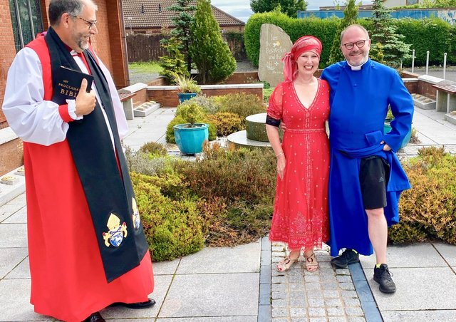 Cheryl and Kevin Graham pictured with The Right Reverend George Davison, Bishop of Connor