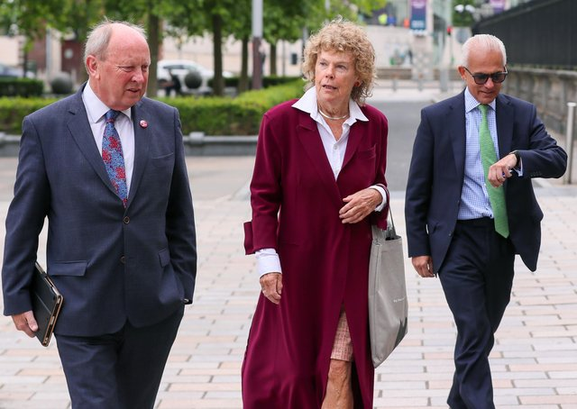 Three of the applicants in the judicial review - Jim Allister, Baroness Hoey and Ben Habib - arrive at the High Court in Belfast to hear the outcome of their joint challenge against the Northern Ireland Protocol. Pic: Jonathan Porter/PressEye