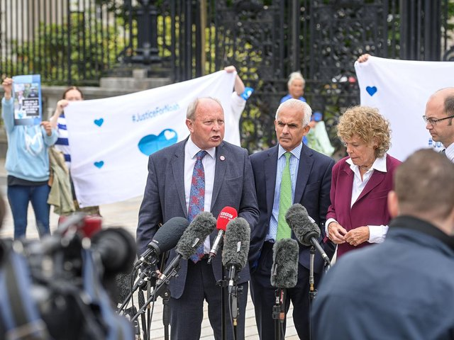 TUV leader and MLA, Jim Allister (left), former Brexit party MEP, Ben Habib and former Labour MP and now member of the House of Lords, Baroness Hoey. NoahD Donohoe supporters can bee seen in the background.