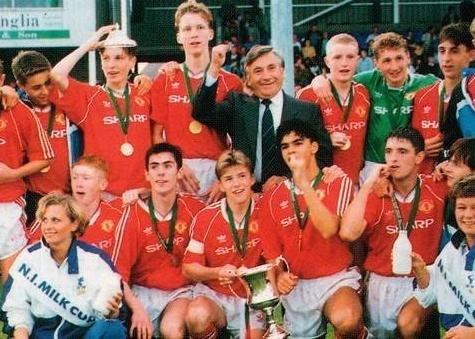 Manchester United players celebrate Milk Cup victory in 1991 - the English giant's first in the competition. Pic courtesy of SuperCupNI.