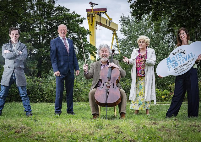 Actor John Travers, Liam Hannaway from The Arts Council of Northern Ireland, musician Neil Martin actor Rachael McCabe and festival director Rachel Kennedy.