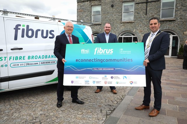 DCMS Project Director Billy McClean, Fibrus Chief Executive Dominic Kearns and Deputy Mayor of Derry City and Strabane District Council, Councillor Christopher Jackson