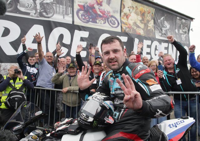 Michael Dunlop celebrates winning the Race of Legends at Armoy for the eighth time in a row in 2019.