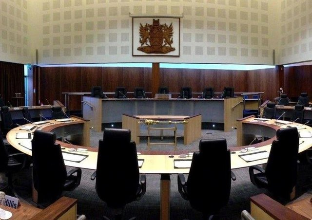 The Causeway Coast and Glens Council chamber at Cloonavin, Coleraine