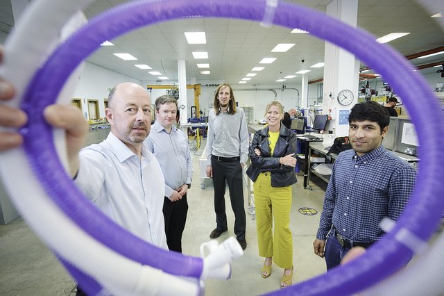 Marking the success of the AquaVENTAE VT breathing circuit at Armstrong Medical's headquarters in Coleraine are Dr Ciarán Magee from Armstrong Medical, Dr Thomas Dooher, Ulster University, Dr Dorian Dixon, Ulster University, Dr Oonagh Lynch, NWCAM and Jawad Ullah, Ulster University