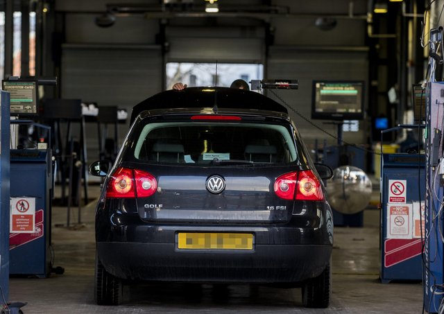 A vehicle during its MOT test at the Balmoral MOT centre in Belfast.