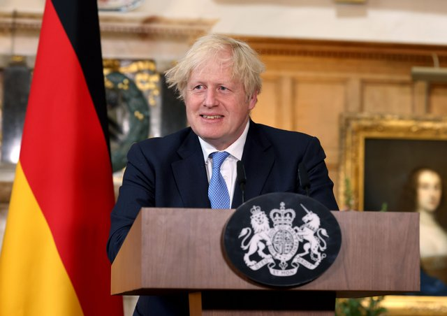 Prime Minister Boris Johnson during a press conference after with Chancellor of Germany, Angela Merkel meeting at Chequers, the country house of the Prime Minister of the United Kingdom, in Buckinghamshire, on Friday July 2, 2021