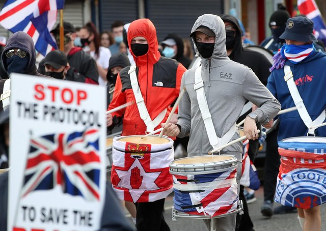 Loyalists in a recent anti protocol rally on the Shankill Road in Belfast