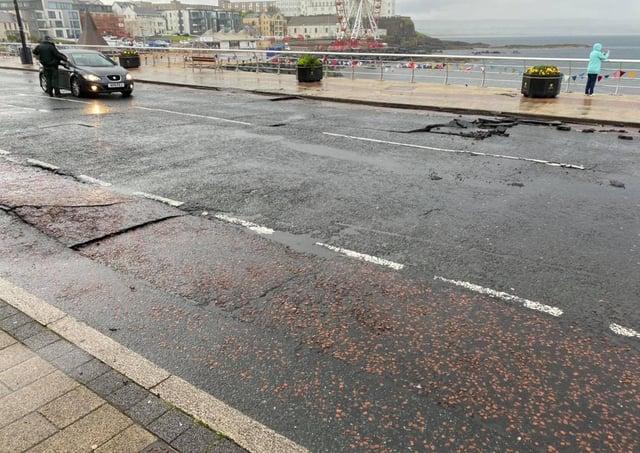 Damage caused to Portstewart promenade on Sunday night after flash flooding