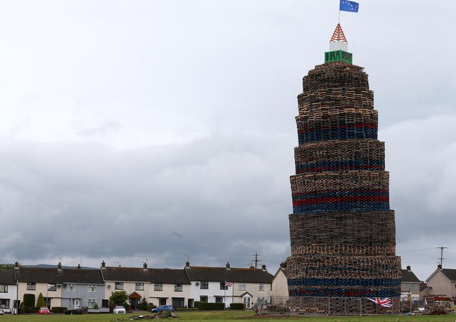 The Craigyhill bonfire in Larne pictured on Monday, July 5 in the Craigyhill housing estate.Pic: Pacemaker