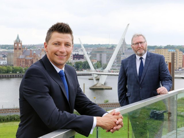 Ryan McCready (left) and UUP leader, Doug Beattie at the Peace Bridge in Londonderry.