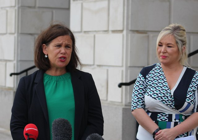 """Mary Lou McDonald and Michelle O'Neill of Sinn Fein after yesterday's """"constructive and frank"""" meeting with Sir Jeffrey Donaldson"""
