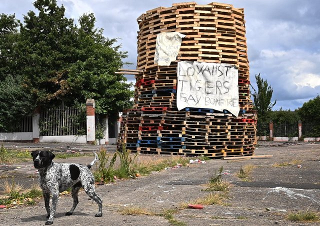 The Tigers Bay bonfire at Adam Street pictured on July 5.Photo: Pacemaker