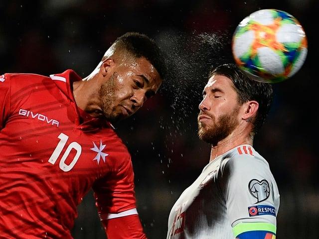 Malta striker Kyrian Nwoko in action against Spain