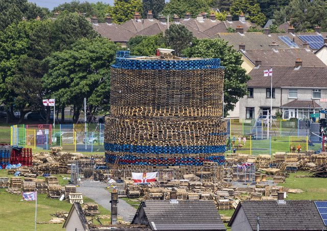 A large bonfire under construction in Craigyhill in Larne, Co Antrim. Photo: Peter Morrison/PA Wire
