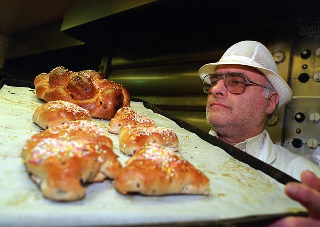 A Kosher baker with Purim cakes baked specially for the Jewish festival of Hamentashen.