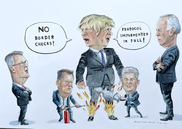 Cartoon by Brian John Spencer. To purchase the original, email UlsterPainter [at] gmail.com