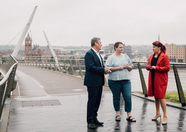 Sir Keir Starmer and Labour's Shadow Secretary of State Louise Haigh with Sara Canning, partner of the murdered journalist Lyra McKee, in Londonderry