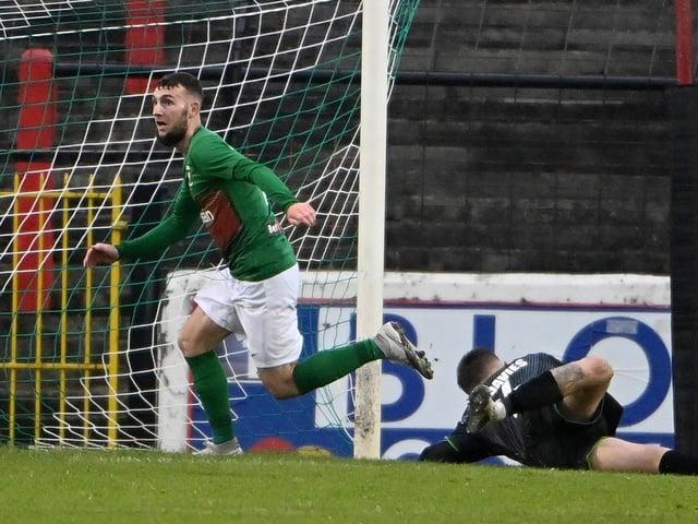 Jamie McDonagh celebrates his equaliser for Glentoran